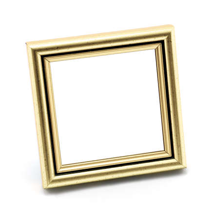 old picture frame: Square classic empty beige photo frame isolated on white Stock Photo