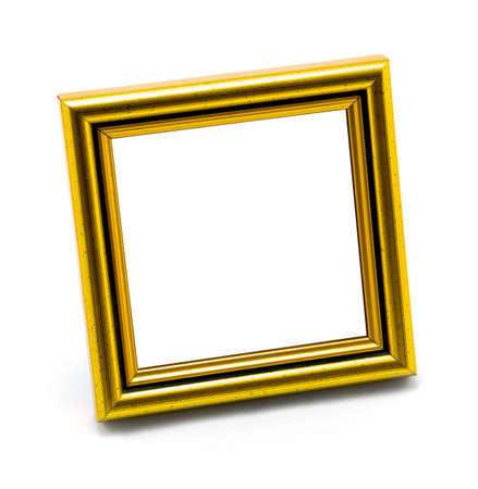 nostalgy: Square classic empty gold photo frame isolated on white