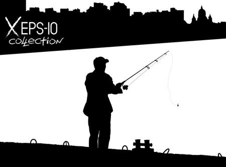 pier: Silhouette of fisherman with fishing rod on pier fishing on background of night city black and white. Vector illustration of my raster photo