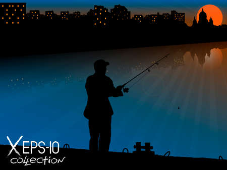 vector raster background: Silhouette of fisherman with fishing rod on pier fishing on background of night city and sunset with reflections. Vector illustration of my raster photo