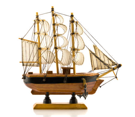frigate: Beech wood carved model of hand made frigate