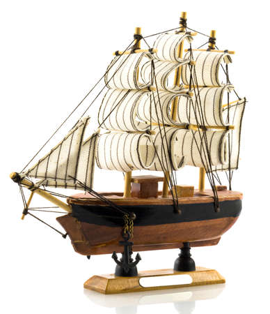 frigate: Beech wood сarved model of hand made frigate Stock Photo