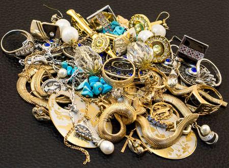 jewelery: Mount of jewelery isolated on black Stock Photo