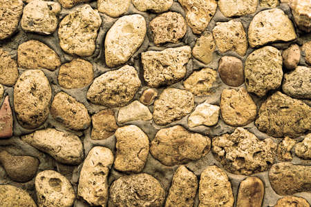 coquina: Texture of stone coquina wall in cement filtered