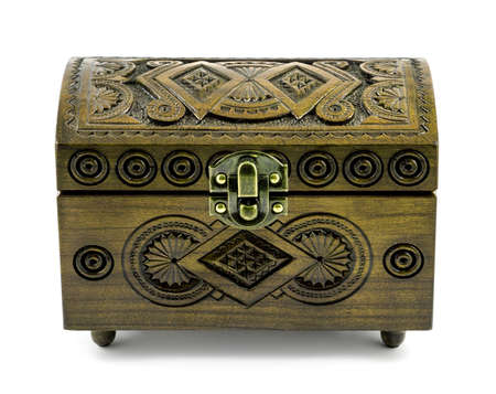 casket: Ash wood carved casket handmade isolated on white Stock Photo