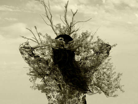 pareo: Double exposure: Young brunette girl in bikini and pareo and ancient oak tree warm filtered