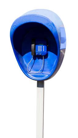 pillar box: Pillar with the blue street telephone set isolated on white