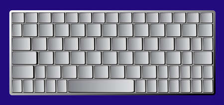 business work: Modern chrome laptop bluetooth keyboard isolated on blue background