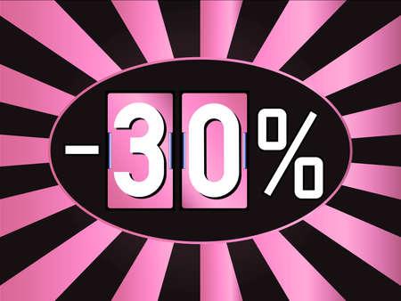 logo couleur: Rose et noir �cran de vente de signer ou de r�ductions. 30 vente coupon en forme d'horloge analogique flip Banque d'images