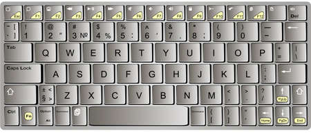 bluetooth: Modern chrome with orange laptop bluetooth keyboard isolated on white