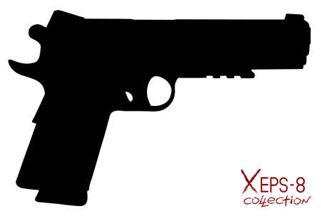 semi automatic: Modern black pistol silhouette isolated on white. Vector oillustration