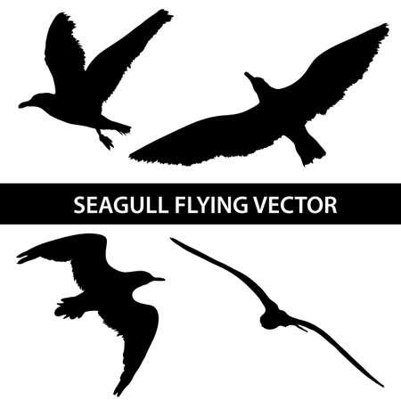 Conjunto de la silueta de vuelo de la gaviota 4-en-1 sobre fondo blanco. Ilustración vectorial
