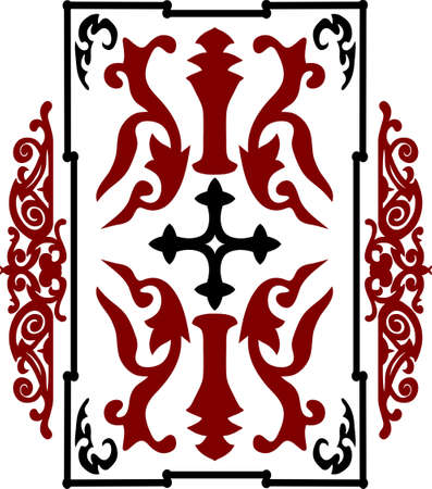 crusader: Red and black ancient vintage ornament on white background in style of crusader war shield with a cross. Vector illustration Illustration