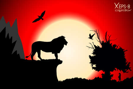 hill of the king: Red sunset in the jungle with mountains, old tree, birds lion and meerkat. Vector background