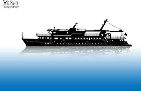Silhouet van toeristische plezier boot varen op de rivier met reflectie op het water. vector illustratie