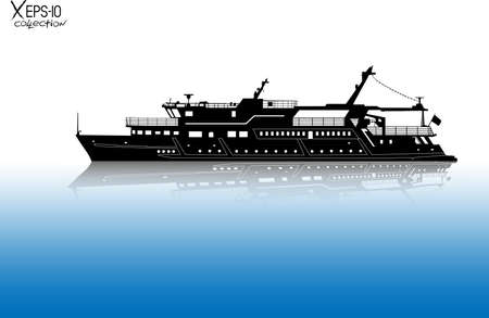 river water: Silhouette of touristic pleasure boat sailing on the river with reflection on water. Vector illustration
