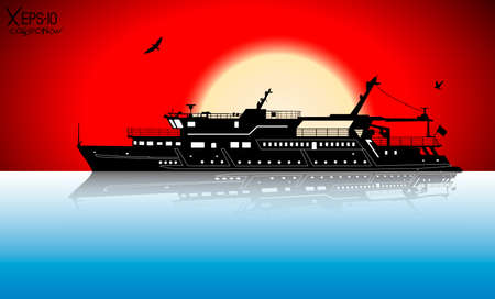 pleasure: Silhouette of touristic pleasure boat sailing on the river with reflection on water and red sunset and seagulls. Vector illustration Illustration