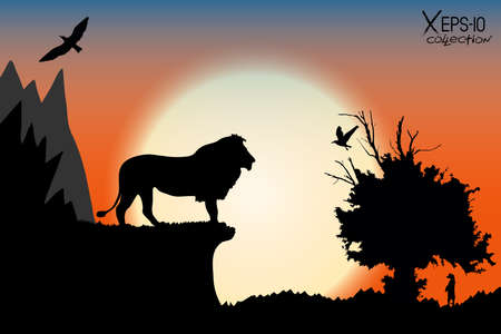 Orange sunrise in the jungle with mountains, old tree, birds lion and meerkat. Vector background