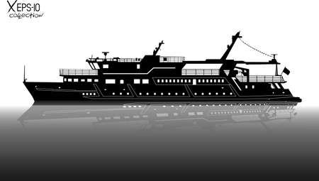 pleasure: Silhouette of touristic pleasure boat sailing on the river with reflection on water black and white. Vector illustration Illustration