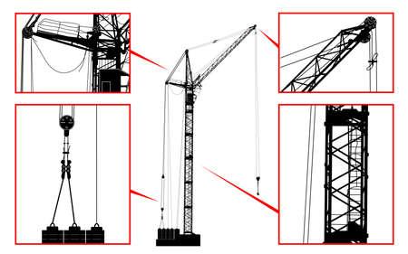 reliance: High detailed vector hoisting crane. Vector illustration Illustration