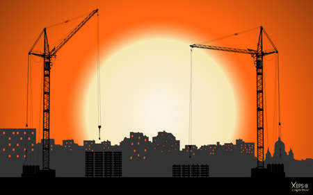 hoisting: High detailed vector hoisting cranes building the town on sunset background. Vector illustration