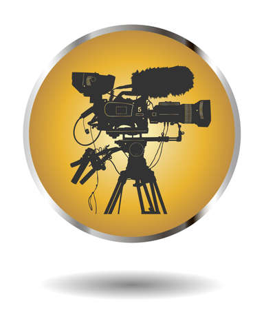 television: Vector golden icon with detailed professional television video camera isolated on white with shadow. Vector illustration