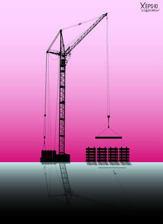 reliance: High detailed vector hoisting crane with reflection lifting a load on rose background. Vector illustration