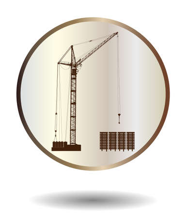 reliance: Vector  bronze and ivory icon with high detailed vector hoisting crane isolated on white with shadow. Vector illustration Illustration