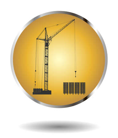 hoisting: Vector golden icon with high detailed vector hoisting crane isolated on white with shadow. Vector illustration Illustration