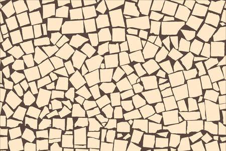 paving stones: Vector texture of ivory asymmetric decorative tiles wall. Vector illustration