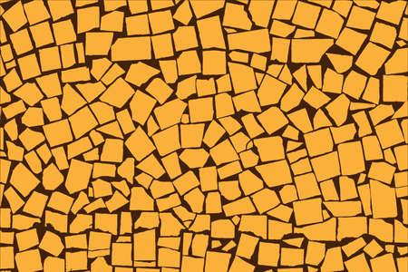 paving stones: Vector texture of orange asymmetric decorative tiles wall. Vector illustration