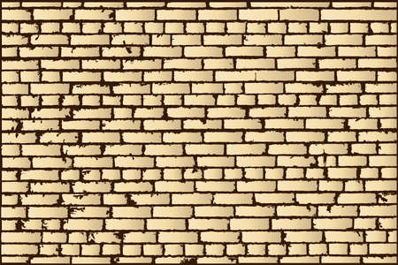 bakstenen muur: Vector texture of beige old brick wall. Vector illustration