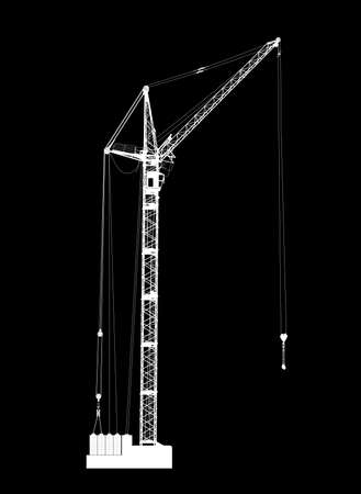hoisting: High detailed vector of white hoisting crane on black background. Vector illustration