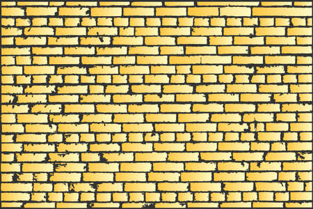 bakstenen muur: Vector texture of golden old brick wall. Vector illustration Stock Illustratie