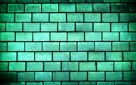 contrasted: Texture of sea blue decorative tiles in form of brick high contrasted with vignetting effect
