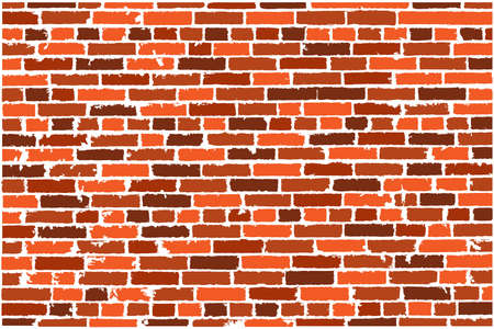 bakstenen muur: Vector texture of brown realistic old brick wall. Vector illustration Stock Illustratie