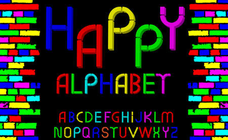 tridimensional: Vector tridimensional decorative multicolor font Happy alphabet. Vector illustration