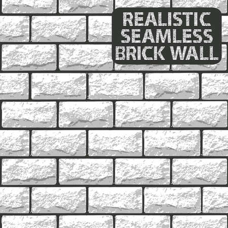 Vector realistic seamless texture of white brick wall. Vector illustration Ilustração