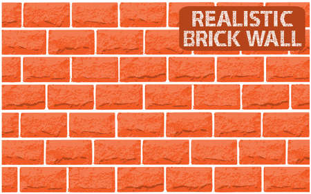 red brick wall: Vector realistic texture of orange brick wall. Vector illustration