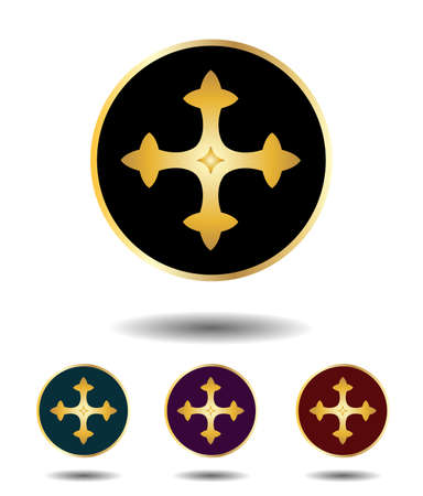 gold cross: Vector icon  set 3 in 1 with vintage gothic gold cross on black, green, violet and red background isolated on white with shadow Illustration