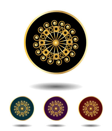 violet red: Vector icon  set 3 in 1 with vintage gothic gold ancient sun sign on black, green, violet and red background isolated on white with shadow
