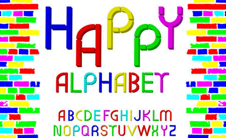 tridimensional: Vector tridimensional decorative multicolor font Happy alphabet on white background. Vector illustration