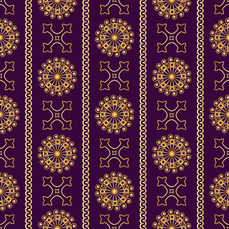 violet background: Vector seamless gold vintage ornamental pattern on violet background. Vector illustration