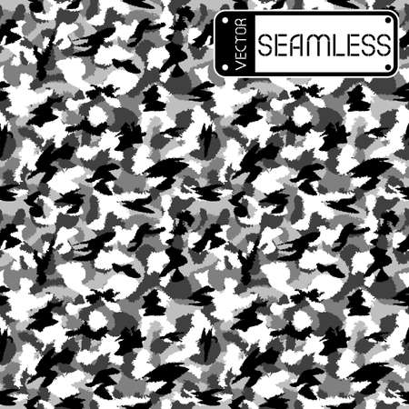 fills: War black and white urban camouflage seamless vector pattern. Can be used for wallpaper, pattern fills, web page background, surface textures. Vector illustration Illustration