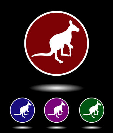 red kangaroo: Vector icon logo set 3-in-1 with modern vintage white kangaroo on red, blue, violet and green background isolated on black highlighted Illustration