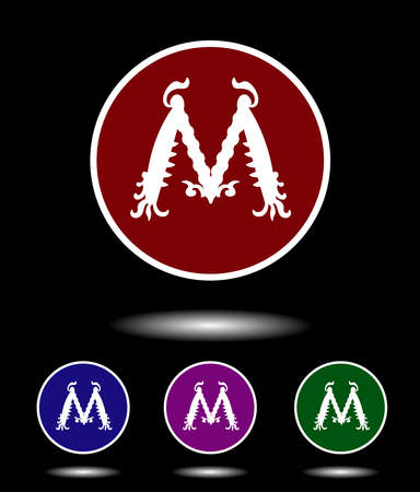 violet red: Vector icon logo set 3-in-1 with modern vintage white letter M on red, blue, violet and green background isolated on black highlighted