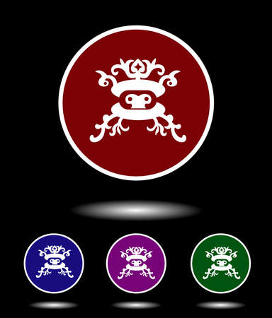 violet red: Vector icon logo set 3-in-1 with modern vintage white Mongolian mask on red, blue, violet and green background isolated on black highlighted Illustration