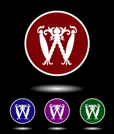 chronicle: Vector icon logo set 3-in-1 with modern vintage white letter W on red, blue, violet and green background isolated on black highlighted