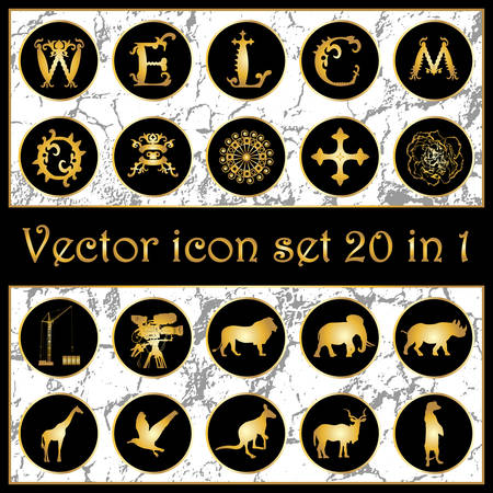 c a w: Set of vintage gold vector icon logo 20-in-1 with letters W, E, L, C, O, M, animals silhouettes, ornaments, cross, crane, camera, mask and flower on black background. Vector illustration