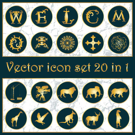 medeival: Set of vintage gold vector icon logo 20-in-1 with letters W, E, L, C, O, M, animals silhouettes, ornaments, cross, crane, camera, mask and flower on dark blue background. Vector illustration